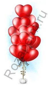 """Связка из 11 шаров в форме сердец с гелием 14"""""""